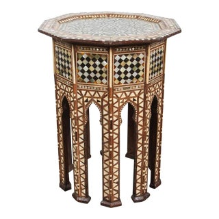 Syrian Octagonal Side Table Inlaid With Mother-Of-Pearl and Bone For Sale