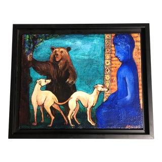 Original Contemporary Folk Art Dogs With Bear Painting Signed For Sale