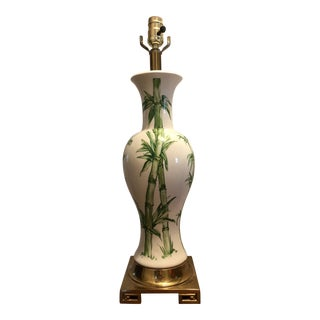 Mid-Century Chinoiserie Bamboo Ginger Jar Brass and Porcelain Lamp For Sale