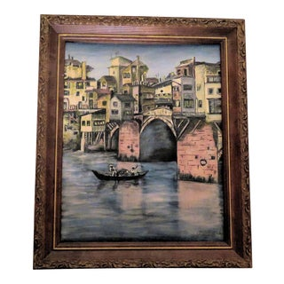 Listed/ E. M. Johnson Venice Italy Oil on Canvas Painting For Sale