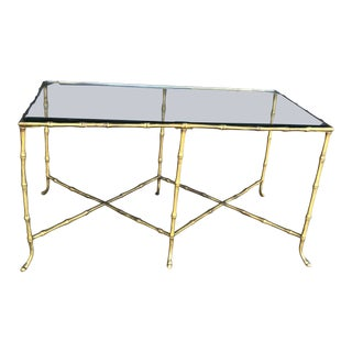 Small Gold Faux Bamboo Glass Top Cocktail Table