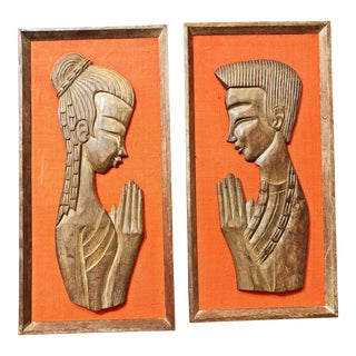 Mid Century Danish Modern Sculptural Wood Wall Art - a Pair For Sale