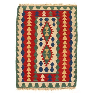 Flat Weave Reversible Kilim Rug - 4' x 6' For Sale