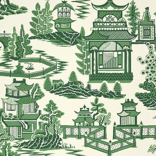 Sample - Schumacher Nanjing Chinoiserie Wallpaper in Jade Green For Sale
