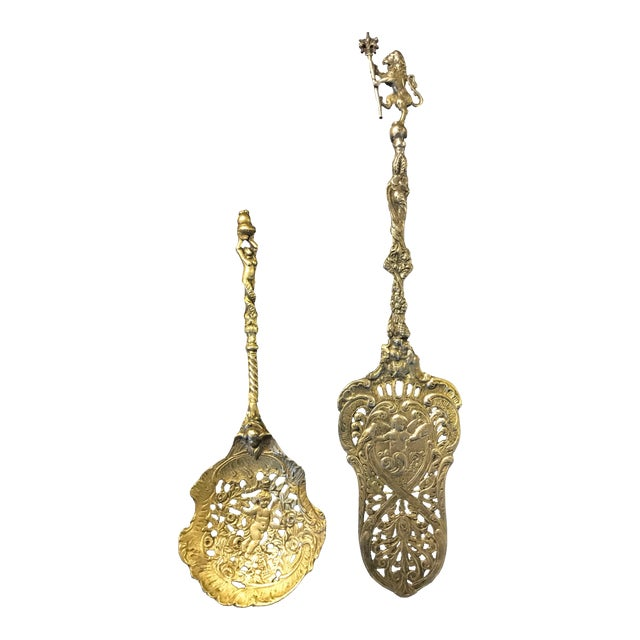 Antique Solid Brass Pie Server & Spoon - A Pair For Sale