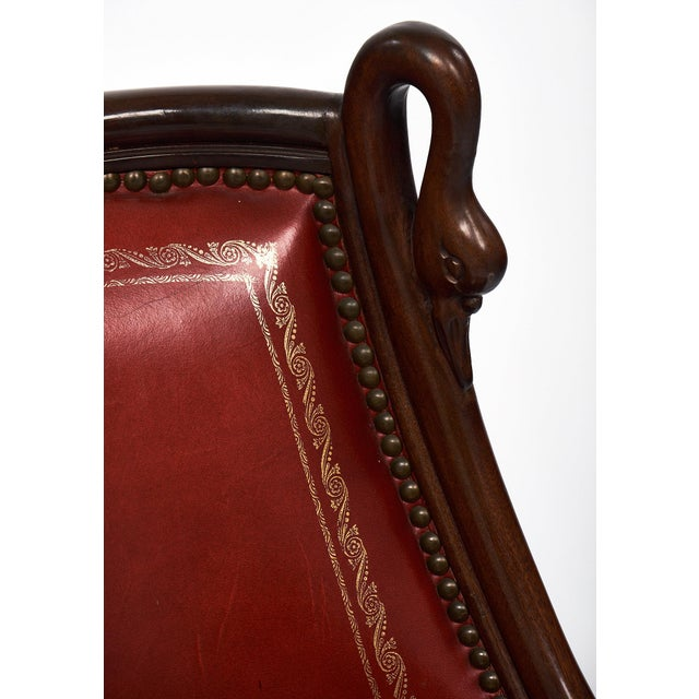 Red Set of 6 French Empire Style Barrel Swan Chairs For Sale - Image 8 of 8