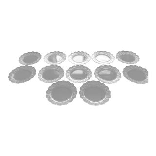 Lalique Crystal Honfleur Pattern With Frosted Geranium Leaves Dinner Plates - 12 Count