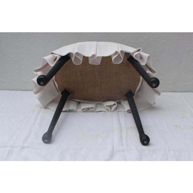 Textile Ebonized Oval Stool With Box Pleated Skirt For Sale - Image 7 of 8