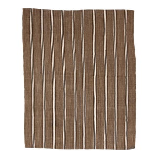 Mid 20th Century Brown & White Striped Vintage Kilim Rug For Sale