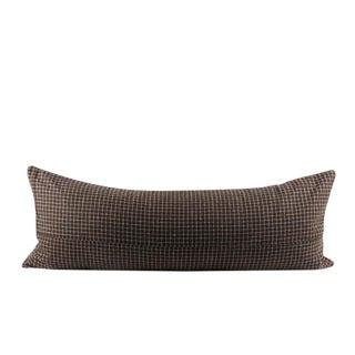 "Brown Mini Plaid Wool Lumbar Pillow 13"" x 34"" For Sale"