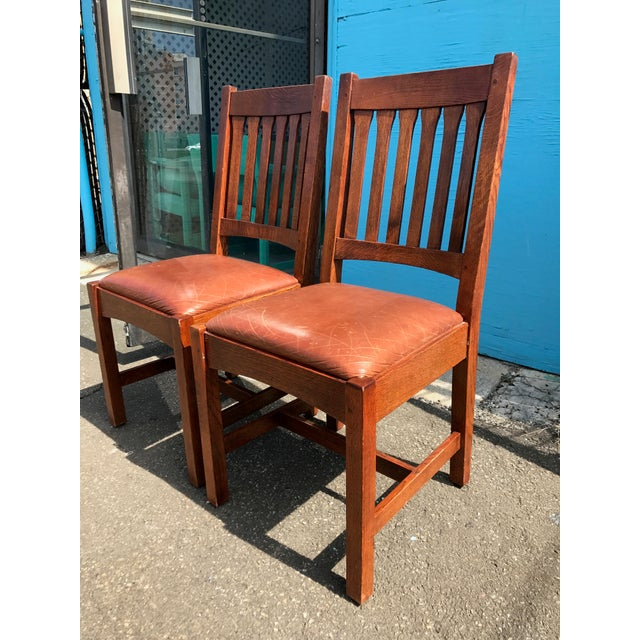 Stickley Mission Cottage Oak & Leather Side Chairs - A Pair - Image 3 of 11