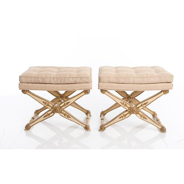 Italian 1940s Vintage X Frame Benches- A Pair For Sale - Image 3 of 3