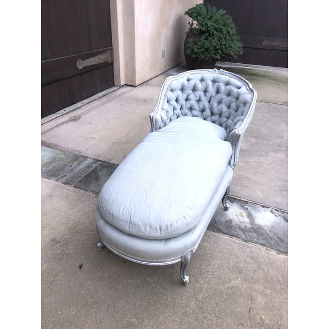 Silver Tufted Loveseat / Chaise. Perfect for a French Provincial style home.