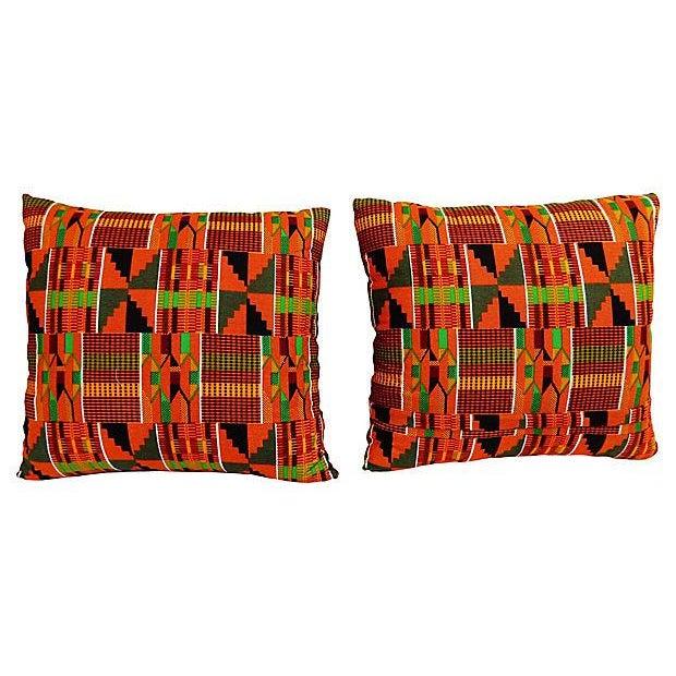 Kente Cloth Pillows, Pair - Image 4 of 5