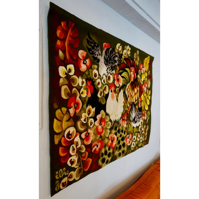 "This hand woven wool tapestry is titled ""Le Camp"" done by Ilhe for Tabard Freres et Soeurs / Aubusson,France.Stitched on..."