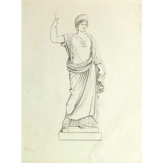 Antique Italian Copper Engraving - Female Statue For Sale