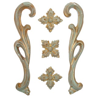 Vintage Italian Gilt Plaster Accents - Set of 5 For Sale