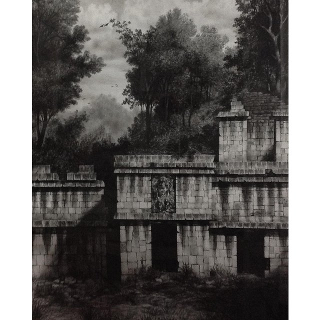 Figurative Framed Illustration Of Mayan Ruins For Sale - Image 3 of 3