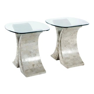 Contemporary Tessellated Marble and Glass End Tables - a Pair For Sale