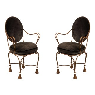 Rope and Tassel Gilt Arm Chairs For Sale