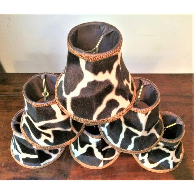 Silk Silk-Lined Velvet Cow Hide Pattern Lamp Shades for Chandelier or Sconces - Set of 6 For Sale - Image 7 of 10