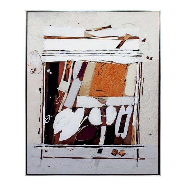 Mid-Century Modern Ray Frost Fleming Abstract Acrylic on Canvas Painting Orange For Sale
