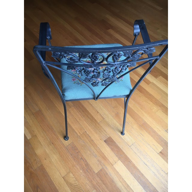 Needlepoint Cushion Wrought Iron Chair - Image 5 of 10
