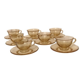 1950s Shabby Chic Fairfax by Fostoria Footed Tea Cup and Saucer Sets - 14 Pieces For Sale