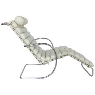 Mid-Century Modern Chaise, White Leather Cushion & Chrome Frame For Sale