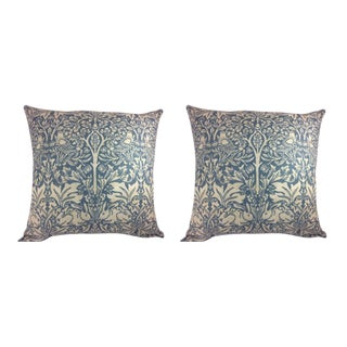 "William Morris ""Brer Rabbit"" in Duck Egg Blue & Off-White Pillow Covers - a Pair For Sale"