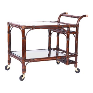 Midcentury British Colonial Style Bamboo Bar Cart For Sale
