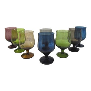 Mid-Century Multicolor Cordial Glasses, Set of 8 For Sale