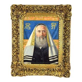 Caspar Mine Oil Painting Portrait of Jewish Scholar or Rabbi Vienna Artist For Sale