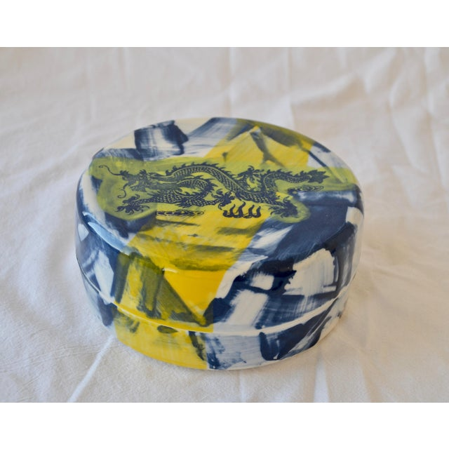 2010s Contemporary Ceramic Green Dragon Box For Sale - Image 5 of 5