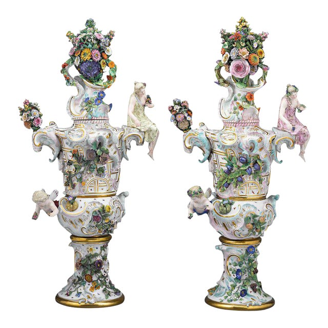 Meissen Autumn and Summer Porcelain Urns For Sale