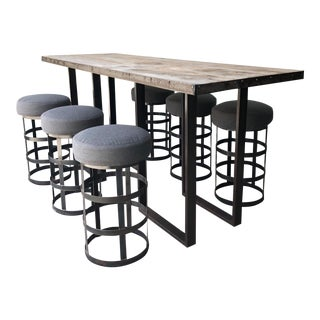 Steel and Oak Bar Table and Stools