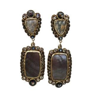 Ella K Papier-Mâché, Gold Leaf, Shagreen, & Mother of Pearl Clip Earrings For Sale