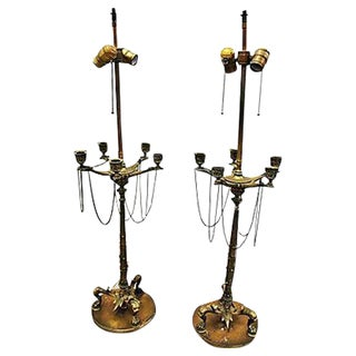 Vintage Neo-Classical Candelabra Lamps - A Pair For Sale