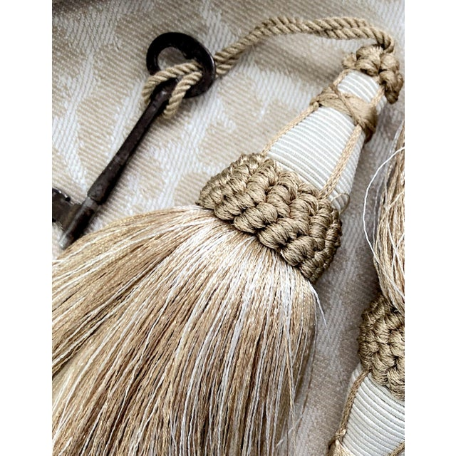 2010s Tan and White Key Tassel With Looped Ruche Trim For Sale - Image 5 of 10