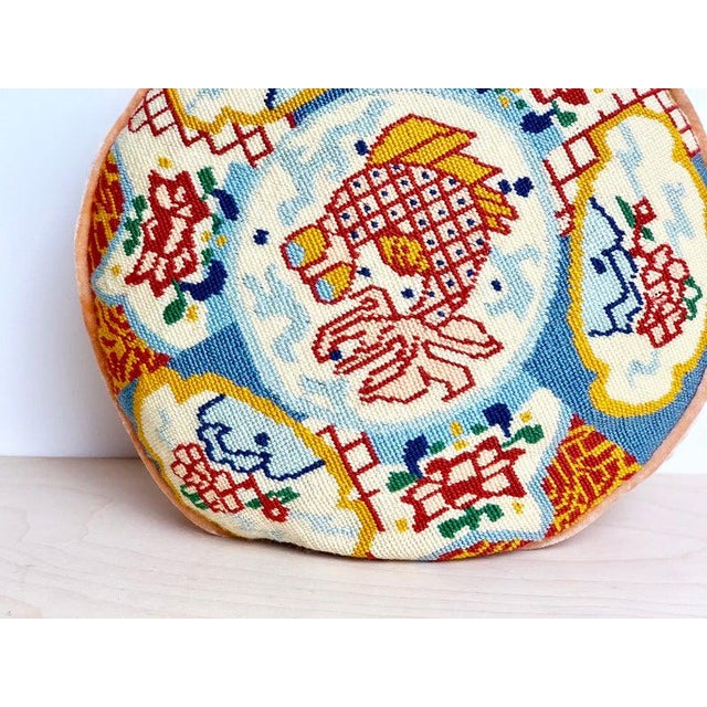 1960s 1960s Ming Round Koi Fish Needlepoint Pillow For Sale - Image 5 of 6