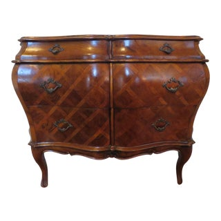 Italian Bombe Marquetry Commode For Sale