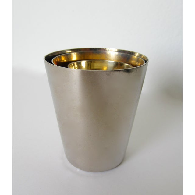 Vintage German Gentleman's Silver Plate & Gold Lined Traveling Cordial Cups - 5 Pieces For Sale - Image 9 of 13