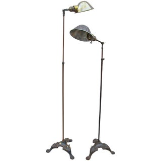 1900s Early American Pacific Electric Adjustable Floor Lamps - a Pair For Sale