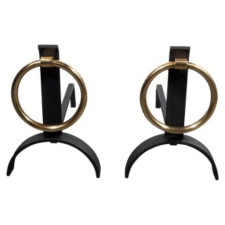 Mid-Century Modern Sculptural Black Iron & Brass Ringed Andirons - a Pair For Sale