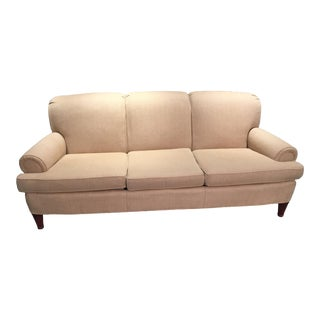 Classic Ralph Lauren Herringbone Beige Gold Sofa For Sale