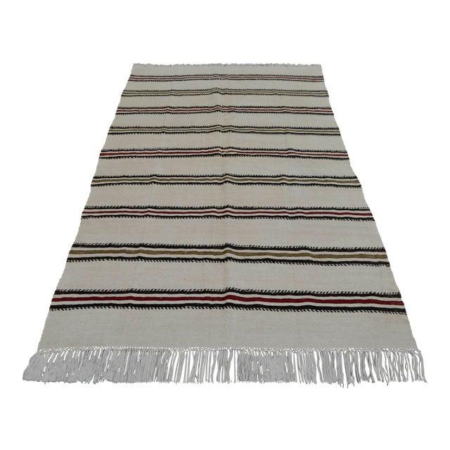 Vintage Natural Turkish Cotton Stripe Kilim Rug - 4′7″ × 7′9″ For Sale