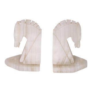 Art Deco Solid Carved Onyx Horse Head Bookends - a Pair For Sale