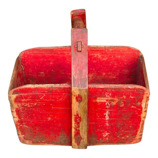 Long Red Lacquered Wooden Basket For Sale