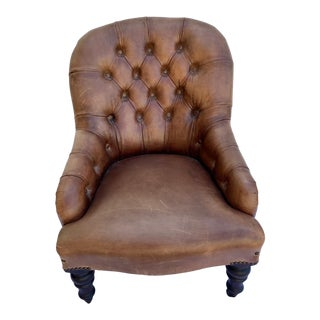 English Leather Tufted Chesterfield Children's Chair For Sale