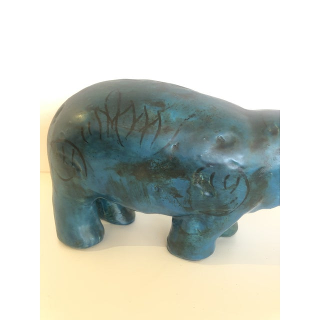 Bitossi Bitossi Style Mid-Century Modern Turquoise Marble Hippo Sculpture For Sale - Image 4 of 9